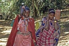Mujeres de Maasai que llevan el agua en casa Foto de archivo libre de regalías