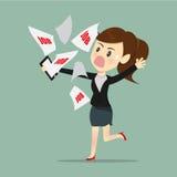 Mujeres de negocios ocupadas y probadas con el trabajo del email una recepción del jefe stock de ilustración