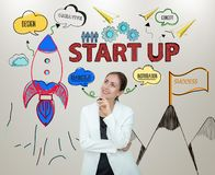 Mujeres de negocios que piensan nuevas ideas de lanzamiento con la innovación fotografía de archivo libre de regalías