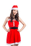 Mujeres de Santa con los bolsos Belleza Girl modelo asiático en el isolat de Santa Costume imagen de archivo libre de regalías