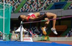Mujeres del salto de altura de Magali Gomes (SLB) foto de archivo