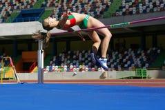 Mujeres del salto de altura de Marisa Vieira (CSM) Foto de archivo libre de regalías