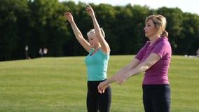 Mujeres deportivas que hacen estirando ejercicios en parque almacen de metraje de vídeo