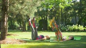 Mujeres deportivas que hacen los ejercicios para los músculos abdominales almacen de video