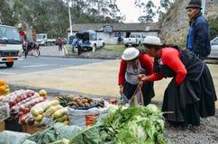 Mujeres ecuatorianas tradicionalmente vestidas que examinan verduras en un mercado Imagenes de archivo