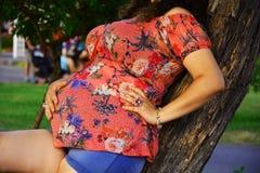 Mujeres embarazadas que ponen en el tronco de un árbol foto de archivo