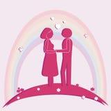 Mujeres embarazadas y marido Ilustración del vector Fotos de archivo libres de regalías