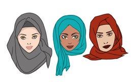 Mujeres en el dibujo del vector del hijab Foto de archivo libre de regalías
