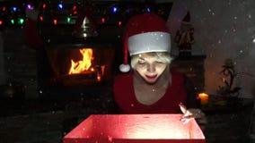 Mujeres en el traje de Santa Claus almacen de metraje de vídeo