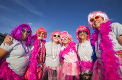 Mujeres en rosa en la fabricación de pasos grandes contra paseo del cáncer de pecho Fotografía de archivo