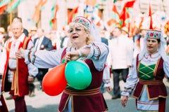 Mujeres en traje popular bielorruso nacional Fotografía de archivo