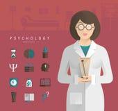 Mujeres en un psicólogo blanco de la capa stock de ilustración