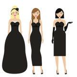 Mujeres en vestidos negros Noche femenina, igualando el dresscode elegante Señoras en ropa de moda elegante Fotografía de archivo