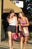 Mujeres felices con los bolsos de compras Imagen de archivo