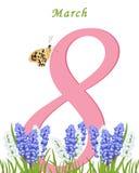 Mujeres felices de la tarjeta de felicitación Postal el 8 de marzo Bouq de la primavera del texto stock de ilustración
