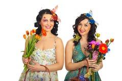 Mujeres felices del resorte Imagenes de archivo