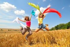 Mujeres felices en campo en verano Imágenes de archivo libres de regalías