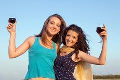 Mujeres felices que beben el vino Imagen de archivo libre de regalías