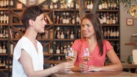 Mujeres felices que beben el vino en la barra o el restaurante almacen de video