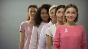 Mujeres felices que llevan las cintas rosadas de las camisas y del cáncer de pecho, colocándose en línea almacen de video