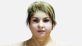 Mujeres gordas El adelgazar y proceso de la obesidad Concepto de la dieta y de la salud aislante Animación realista 4K stock de ilustración