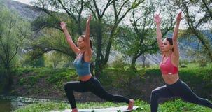 Mujeres hermosas que hacen ejercicios de la yoga de estirar el cuerpo en la naturaleza en la estera que concentraron y que relaja almacen de video