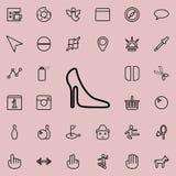 mujeres \ 'icono del zapato de s Sistema detallado de la línea minimalistic iconos Diseño gráfico superior Uno de los iconos de l stock de ilustración