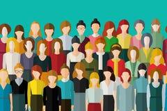 Mujeres inconsútiles del modelo de las mujeres grandes del grupo solamente Muchedumbre grande con las mujeres irreconocibles boni stock de ilustración