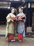 Mujeres japonesas en trajes japoneses Foto de archivo