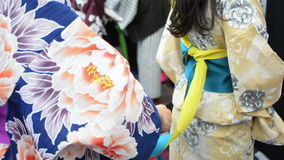 Mujeres japonesas que visten el kimono metrajes