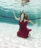 Mujeres jovenes atractivas que modelan los diversos equipos en una piscina Fotos de archivo libres de regalías