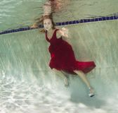 Mujeres jovenes atractivas que modelan los diversos equipos en una piscina Imagen de archivo