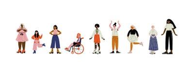 Mujeres jovenes de diversos aspectos fijados, caracteres femeninos que aman su cuerpo, aceptación del uno mismo, diversidad de la stock de ilustración