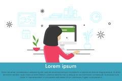 Mujeres jovenes en el lugar de trabajo Ejemplo lindo moderno en estilo plano libre illustration