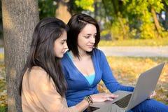 Mujeres jovenes hermosas que hojean en el ordenador portátil en un parque Imagenes de archivo