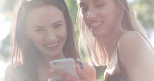 Mujeres jovenes hermosas que miran las fotos en un teléfono Imagenes de archivo