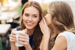 Mujeres jovenes que beben el café y que hablan en el café Foto de archivo
