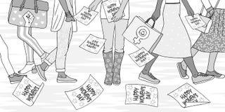 Mujeres jovenes que caminan en la calle el día de las mujeres internacionales libre illustration