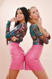 mujeres jovenes rubias de las hermanas de la cámara de 2 sonrisa feliz y mirada o de las mejores amigas y morenas hermosas que se Foto de archivo