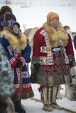 Mujeres Khanty en vestido nacional Imágenes de archivo libres de regalías