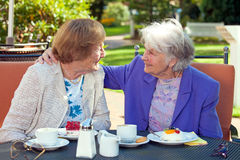 Mujeres mayores alegres que hablan en la tabla al aire libre foto de archivo libre de regalías