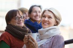 Mujeres mayores que beben té en el balcón Imágenes de archivo libres de regalías