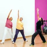 Mujeres mayores que hacen entrenamiento aerobio imagen de archivo libre de regalías