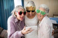 Mujeres mayores que llevan los vidrios de la novedad que hacen la cara mientras que toma el selfie Imagenes de archivo