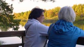 Mujeres mayores sonrientes que miran el río en parque hermoso del otoño metrajes