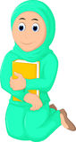 Mujeres musulmanes de la sonrisa que ruegan con el abrazo de un libro stock de ilustración