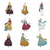 Mujeres musulmanes en diversas situaciones fijadas, mujeres árabes en el ejemplo tradicional del vector de la ropa stock de ilustración