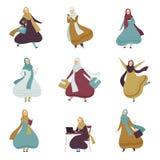 Mujeres musulmanes en sistema diario de la forma de vida, mujeres árabes en el ejemplo tradicional del vector de la ropa ilustración del vector