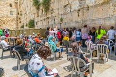 Mujeres occidentales Jerusalén lateral de la pared Fotografía de archivo libre de regalías