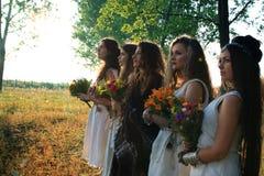 Mujeres paganas en el bosque de la mañana que mira en la distancia fotos de archivo libres de regalías